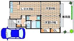 兵庫県神戸市西区押部谷町栄の賃貸アパートの間取り