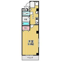サンシャインII 2階1Kの間取り