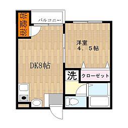 大阪府東大阪市瓜生堂1丁目の賃貸アパートの間取り