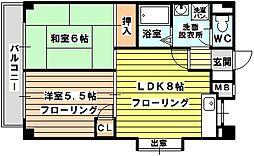 ハイム中倉[2階]の間取り