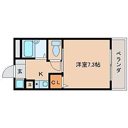奈良県橿原市久米町の賃貸マンションの間取り
