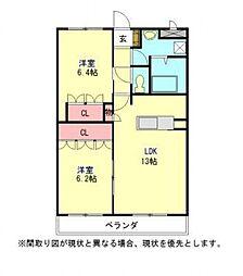 愛知県一宮市開明の賃貸アパートの間取り