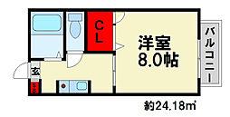 メルヴェーユ弥永[B206号室]の間取り