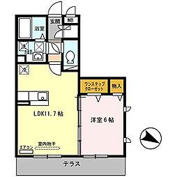 オースター2番館[1階]の間取り