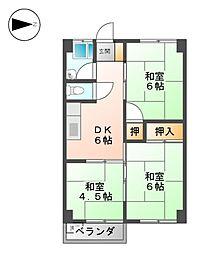コーポアジマ[4階]の間取り