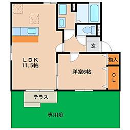 兵庫県尼崎市南武庫之荘4丁目の賃貸アパートの間取り