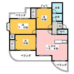 モンパレ藤森[1階]の間取り