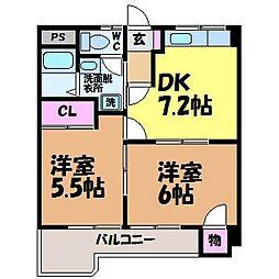 愛媛県松山市束本1丁目の賃貸マンションの間取り