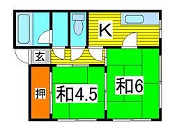 コーポ高柳[2階]の間取り