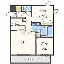 北海道札幌市北区北二十三条西5丁目の賃貸マンションの間取り