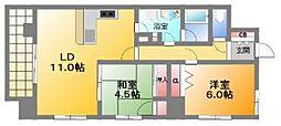 アーデン上本町[4階]の間取り