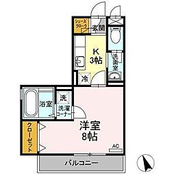JR左沢線 東金井駅 嶋南2丁目下車 徒歩5分の賃貸アパート 1階1Kの間取り