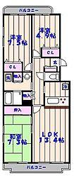 千葉県市川市入船の賃貸マンションの間取り