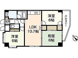 ラフィネ牛田本町 7階3LDKの間取り