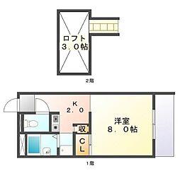 広島県三原市糸崎2丁目の賃貸アパートの間取り