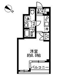 ラクラス日本橋浜町 2階1Kの間取り