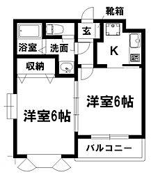 愛知県名古屋市瑞穂区津賀田町2の賃貸アパートの間取り