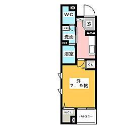 グレイスコモンズ東静岡 1階1Kの間取り