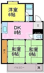 シャトー天子田[3F号室]の間取り