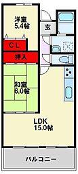 福岡県北九州市八幡西区萩原1丁目の賃貸マンションの間取り