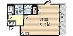 シャトーパルモア阪急六甲 2階ワンルームの間取り