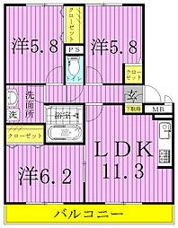 コンフォート新柏A・B[1階]の間取り