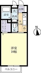 JR常磐線 土浦駅 バス20分 西真鍋下車 徒歩3分の賃貸アパート 1階1Kの間取り
