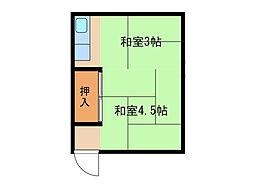 兵庫県尼崎市浜2丁目の賃貸アパートの間取り