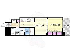 リーガル京都五条大宮 6階1LDKの間取り
