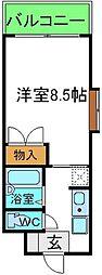 ジュネスドゥ新大阪 7階1Kの間取り