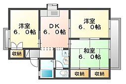 岡山県岡山市北区今1丁目の賃貸アパートの間取り