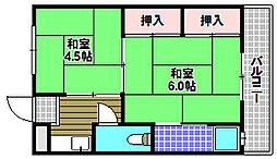 南海高野線 狭山駅 徒歩11分の賃貸アパート 1階2Kの間取り