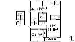 兵庫県宝塚市中山寺2丁目の賃貸アパートの間取り