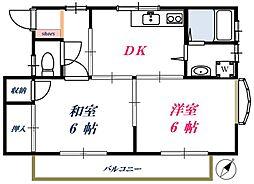 東京都世田谷区野毛1丁目の賃貸アパートの間取り