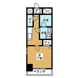 アクアコート大曽根 7階1Kの間取り
