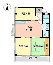 愛知県名古屋市守山区白山4丁目の賃貸マンションの間取り