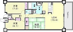 兵庫県神戸市垂水区日向1丁目の賃貸マンションの間取り