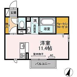JR山陽本線 幡生駅 3.6kmの賃貸アパート 2階ワンルームの間取り