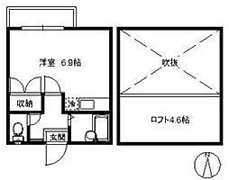 ポラリス下山門III・初期費用6万円以内・[202号号室]の間取り