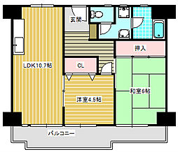 UR南港わかぎの団地[43-310号室]の間取り