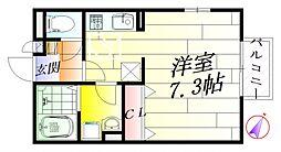 大阪府摂津市正雀3丁目の賃貸アパートの間取り