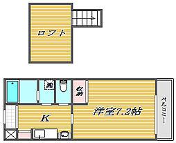 東京都北区赤羽北3丁目の賃貸アパートの間取り