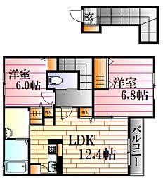 広島県広島市東区戸坂惣田1丁目の賃貸アパートの間取り