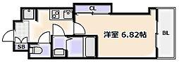 JR大阪環状線 芦原橋駅 徒歩2分の賃貸マンション 4階1Kの間取り