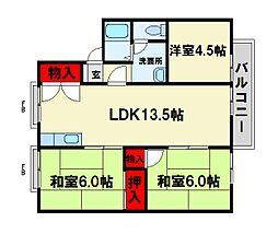 福岡県春日市下白水北4丁目の賃貸アパートの間取り