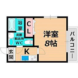 Osaka Metro谷町線 千林大宮駅 徒歩2分の賃貸マンション 2階1Kの間取り