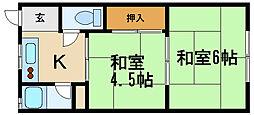 兵庫県伊丹市船原1丁目の賃貸アパートの間取り