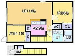 北海道江別市元町の賃貸アパートの間取り