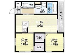 阪急神戸本線 六甲駅 徒歩8分の賃貸マンション 1階2LDKの間取り