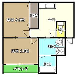 高知県高知市西秦泉寺の賃貸アパートの間取り